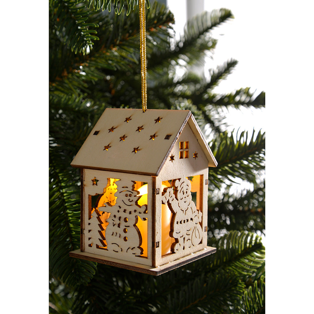 Pre-Lit Hanging House Bauble Christmas Tree Decoration, Set of 3