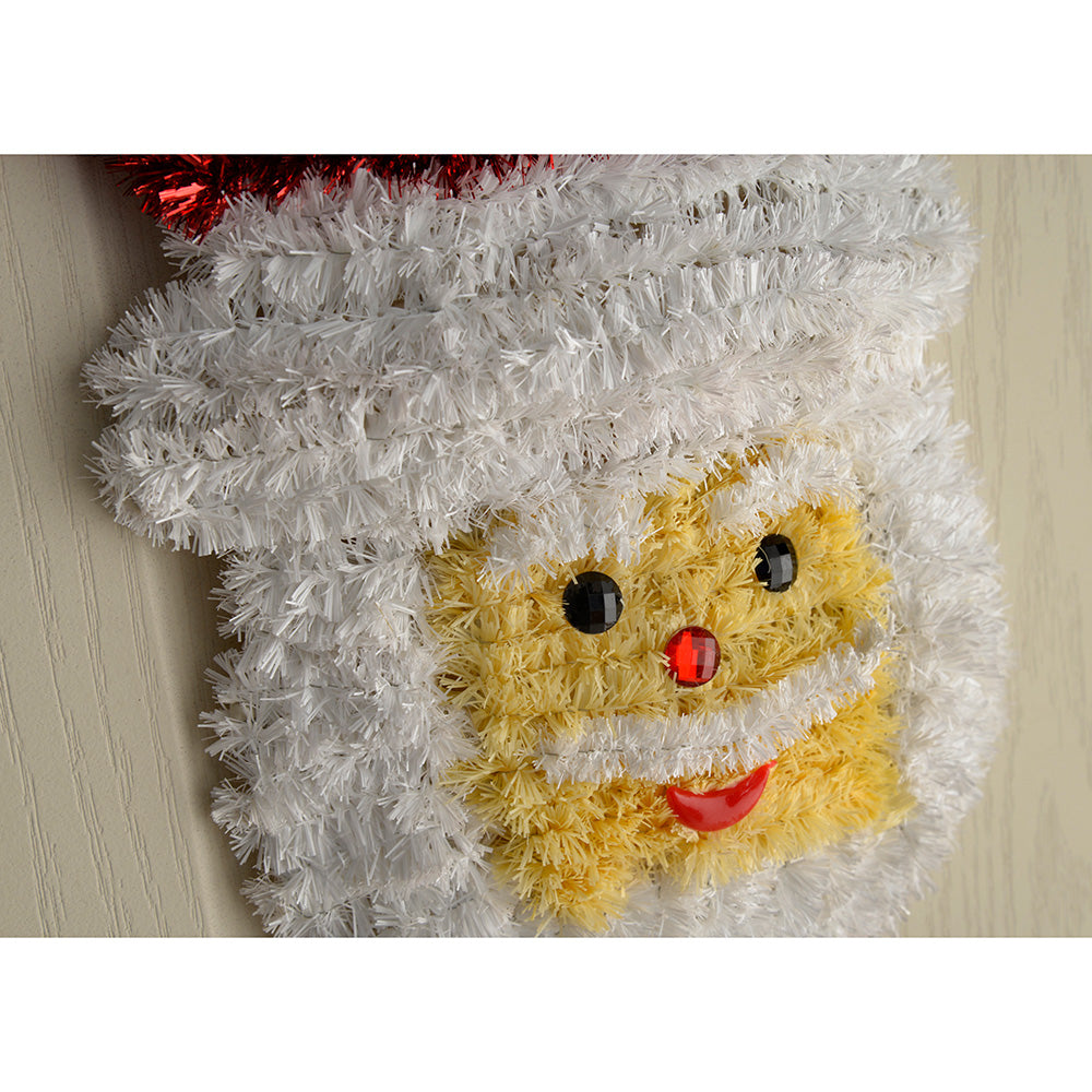Santa and Snowman Tinsel Hanging Wall Christmas Decoration, 32 cm - Pack of 2
