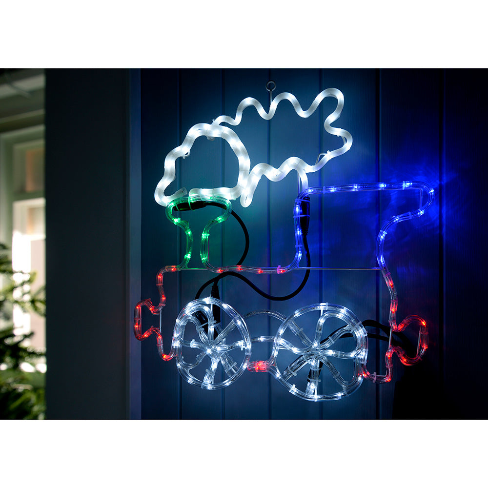 Pre-Lit LED Animated Train with Flashing Wheel and Smoke Rope Light Silhouette, 60 cm