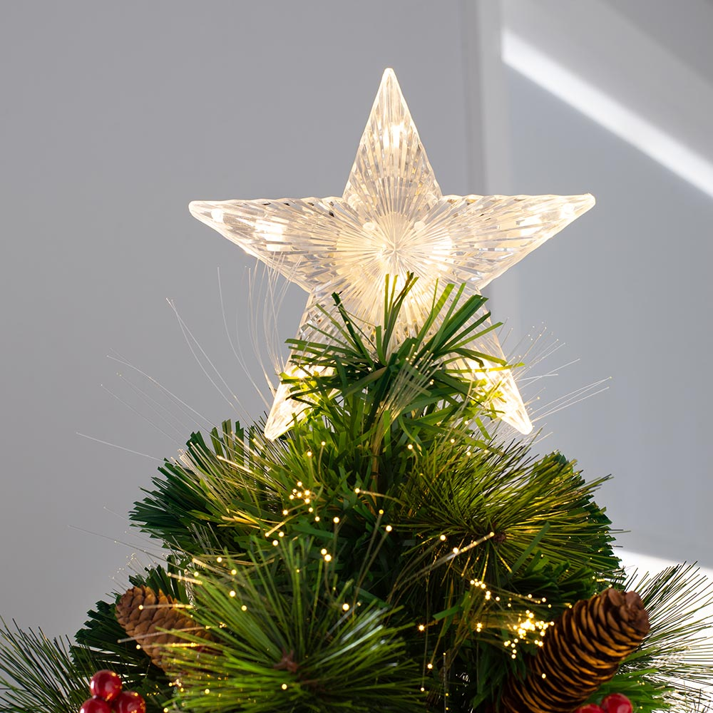 Mixed Pine Fibre Optic Christmas Tree with  Warm LED Star Lights