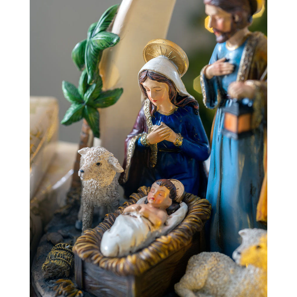 Pre-Lit Musical Away in a Manger Nativity Scene, 29 cm