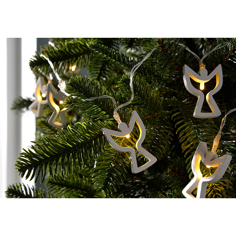 Angel Light String Christmas Decoration with 10 Warm LED, Wood - White