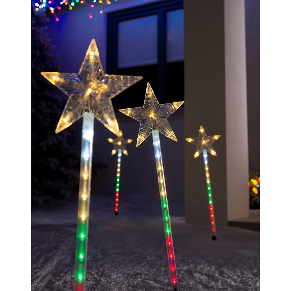 Set of 4 Connectable Star Pathway Stake Lights, 77 cm