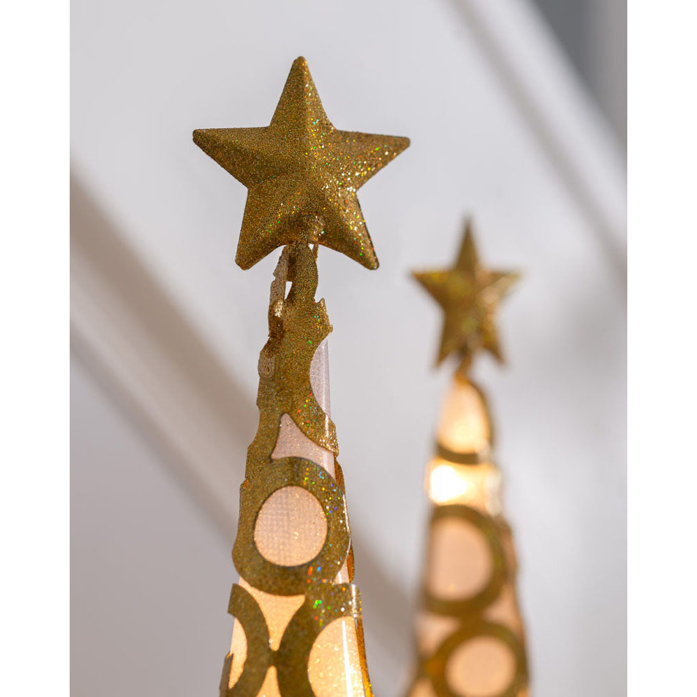 Set of 2, Pre-Lit Christmas Tree Decorations, Gold, 45 cm