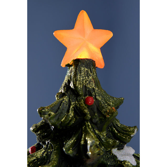 Pre Lit Rotating Christmas Tree.Pre Lit Led Christmas Tree Scene With Rotating Train Decoration 32 Cm