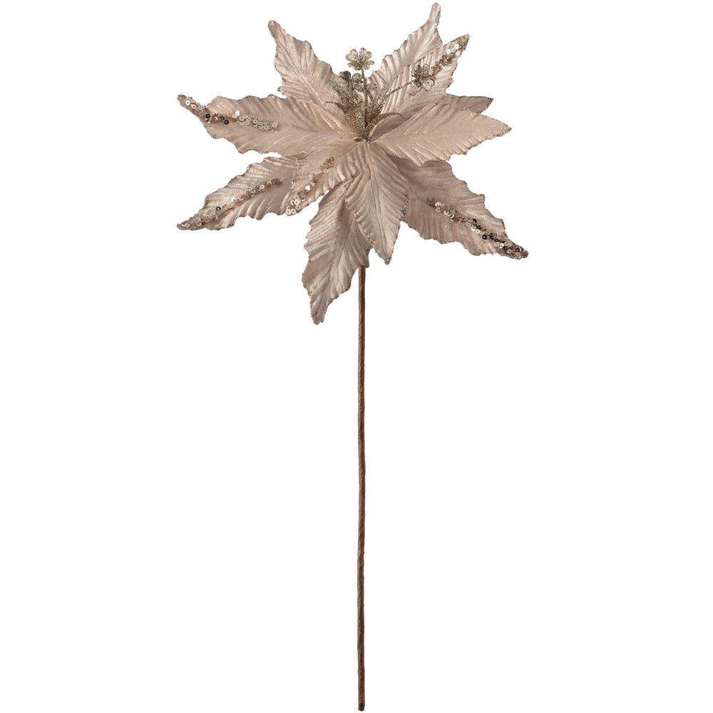 Artificial Poinsettia Christmas Tree Flower Decoration, Gold, 32 cm