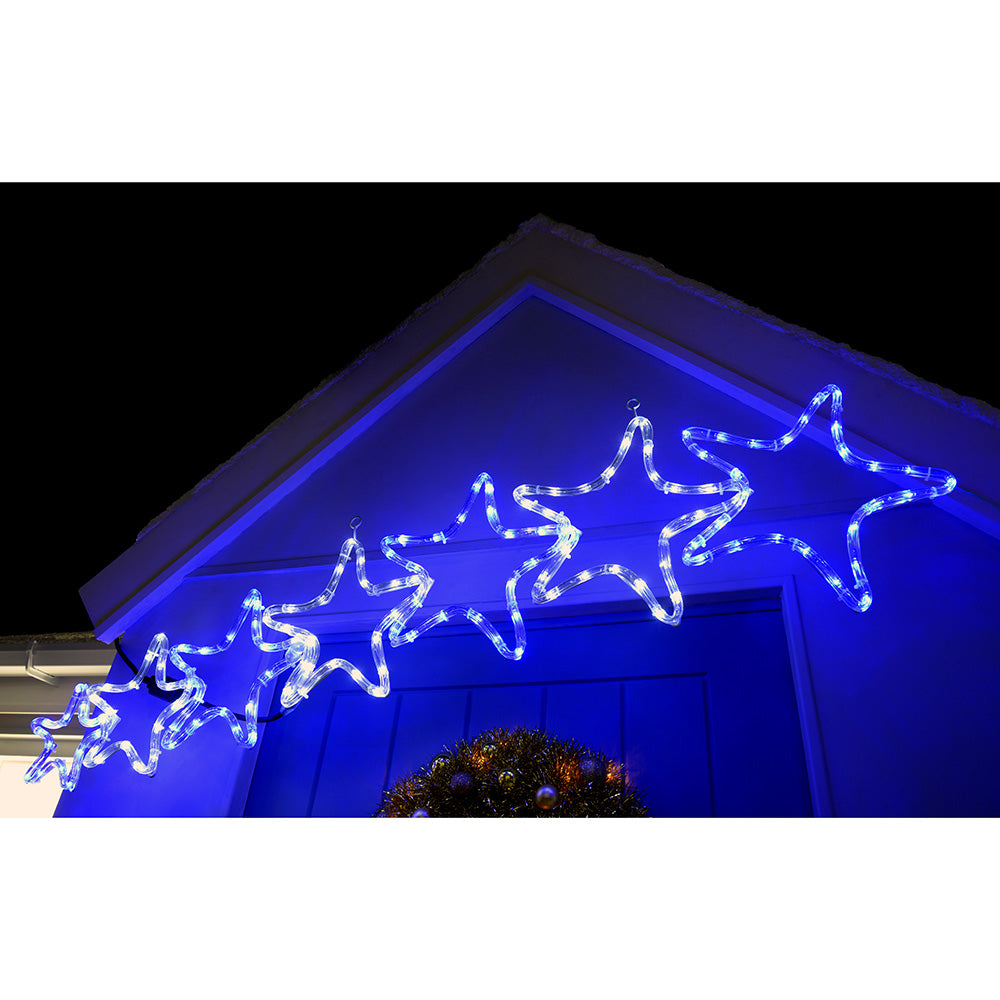 7 Star Motif LED Rope Lights Silhouette Christmas Decoration, 119 cm - Large, White/Blue