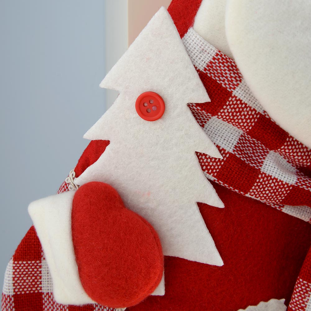 Christmas Stocking, White and Red Tartan, 48 cm
