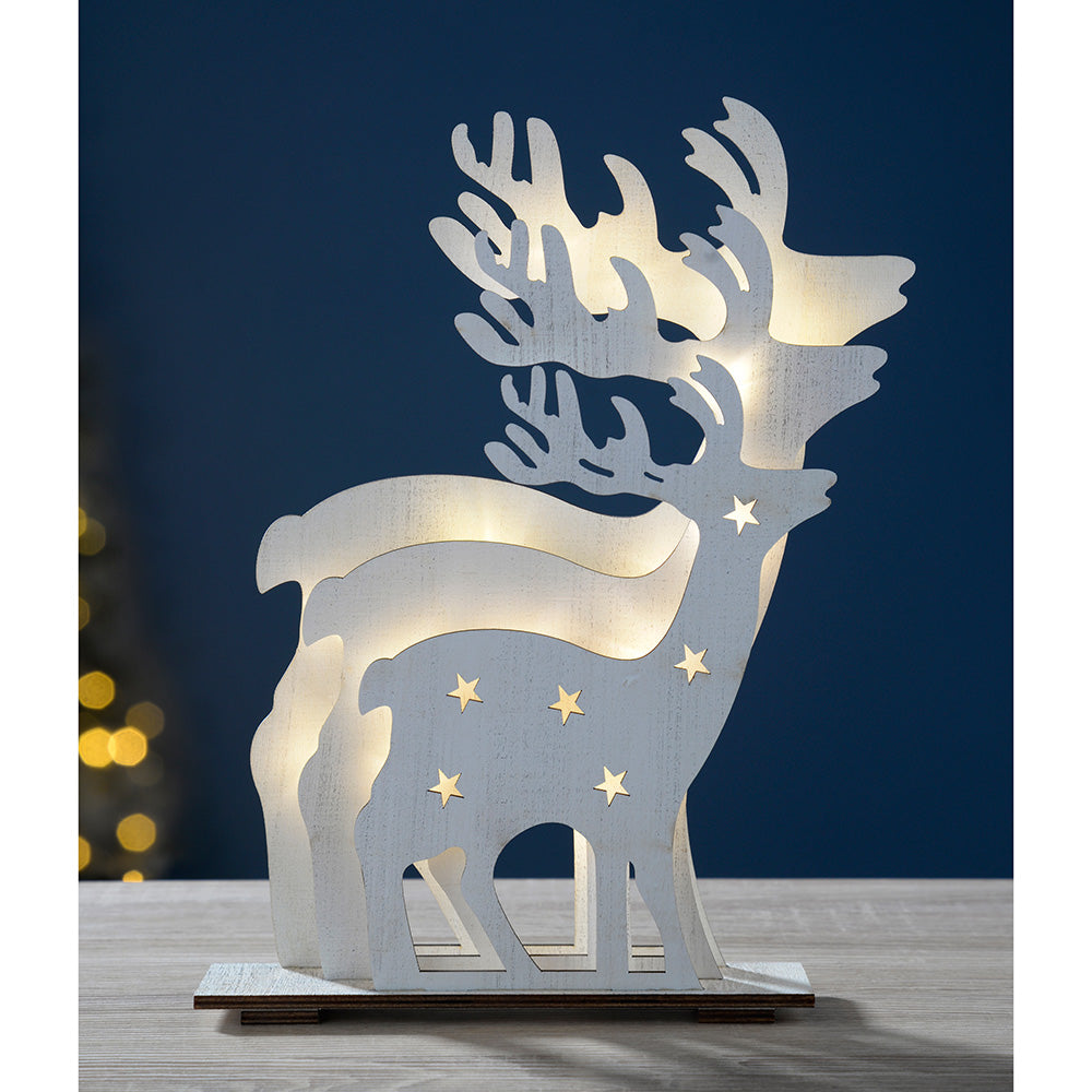 Pre-Lit 3 Layer Reindeer Table Christmas Decoration, Wood, 30 cm - White