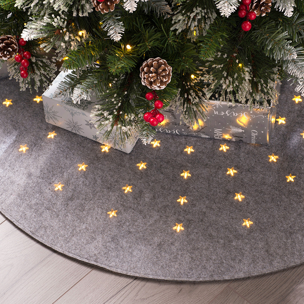 Christmas Tree Mat, Pre-Lit with 80 LED Lights, Grey, 98cm