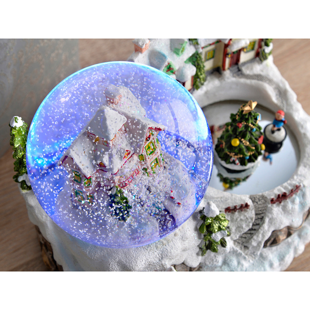 Musical Village Scene Colour Changing Snow Globe, 22 cm - Multi-Colour