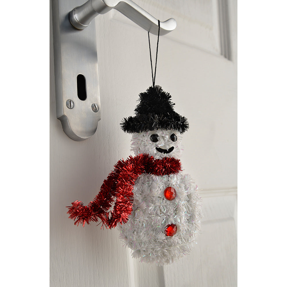 Snowman Tinsel Hanging Christmas Ornaments 16 Cm Pack Of 3 We R Christmas