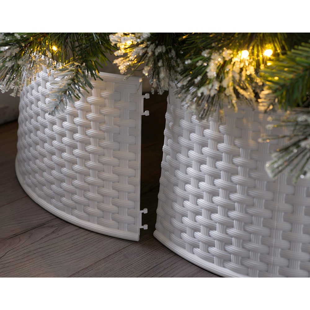 Large Rattan Effect Real and Artificial Christmas Tree Skirt, White, 19cm
