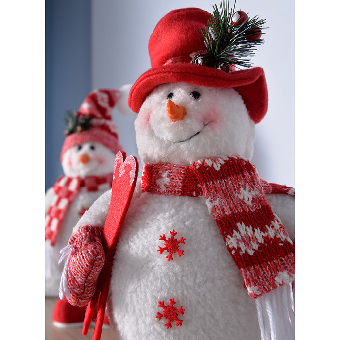 Standing Snowmen Christmas Decorations, Red/White, 36 cm, Set of 2