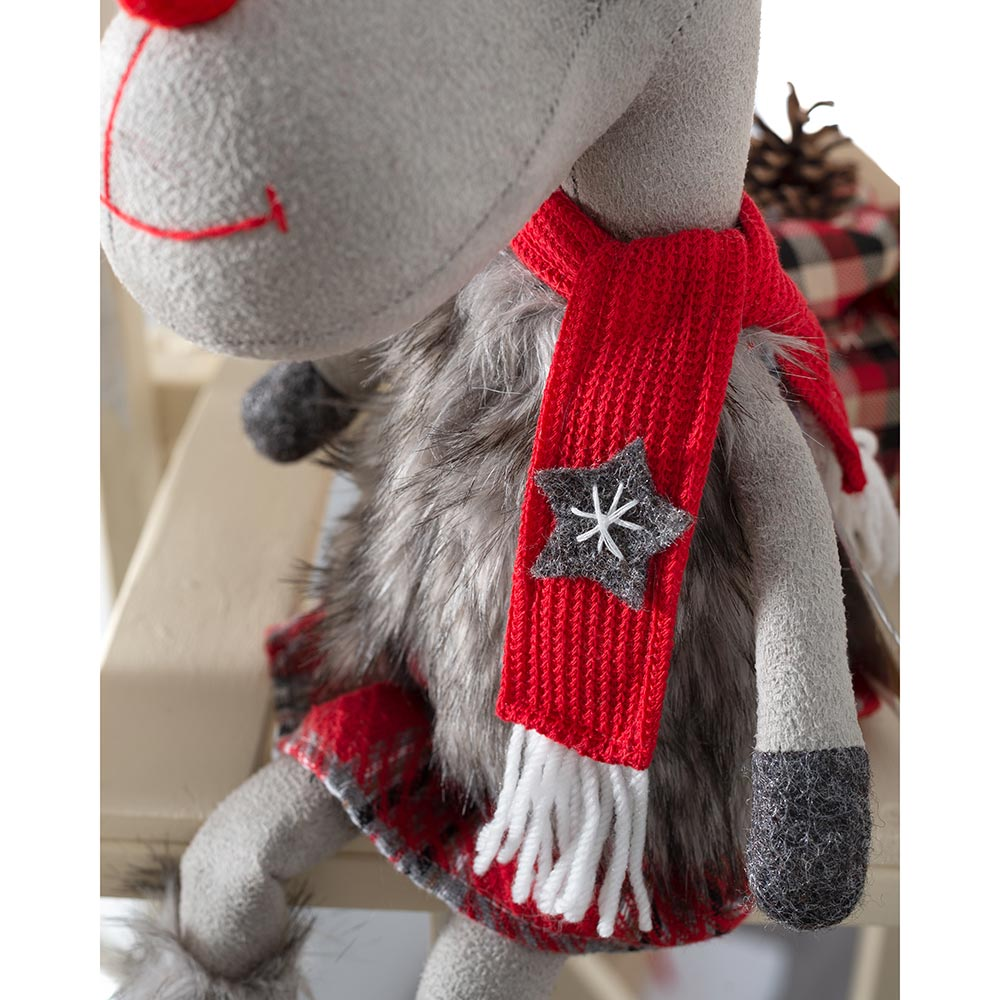 Sitting Christmas Reindeer Figurine with Soft Legs, Red and Grey, 42 cm