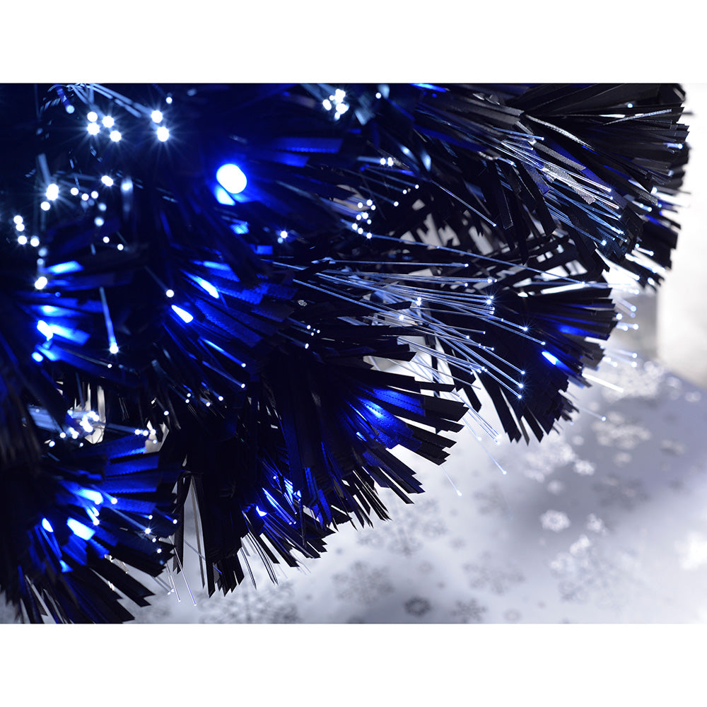 Pre-Lit Slim Blue/White Christmas Tree with Fibre Optic Lights