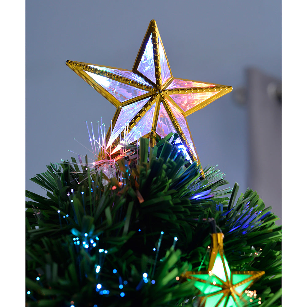 Pre-Lit Fibre Optic Christmas Tree with Tree Topper and Multi Colour Lights