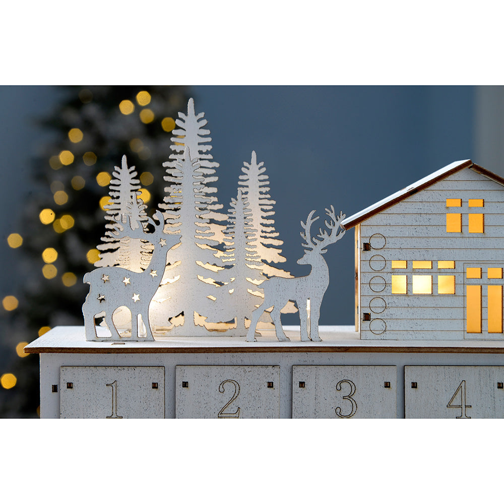 Pre-Lit Wooden House Scene Advent Calendar Christmas Decoration, 32 cm - White