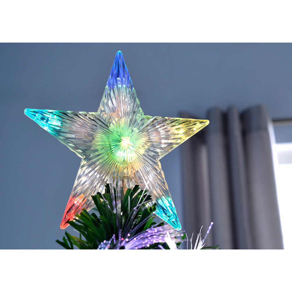 Pre-Lit Fibre Optic Green Christmas Tree with Tree Topper and Flower Lights