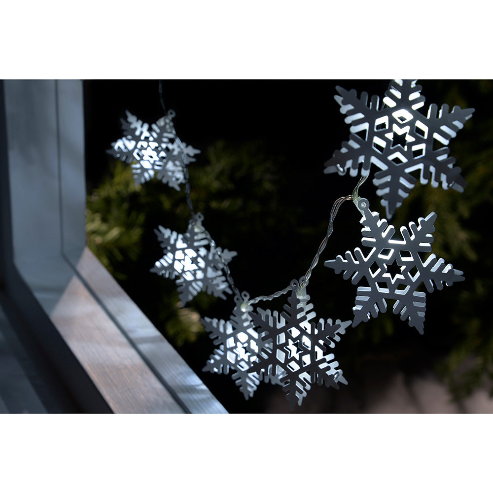 Snowflake Light String Christmas Decoration with 10 White LED Lights - White