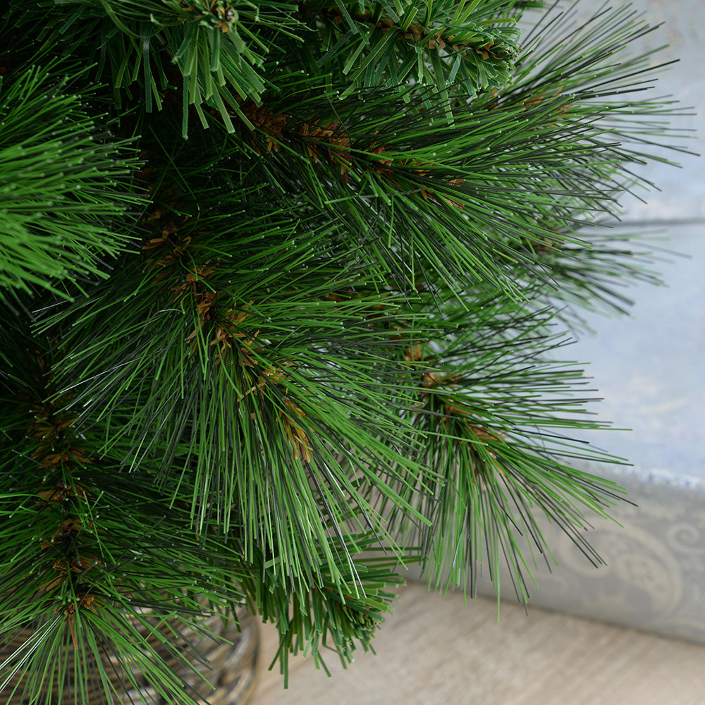 Victorian Pine Christmas Tree in a Gold Resin Pot