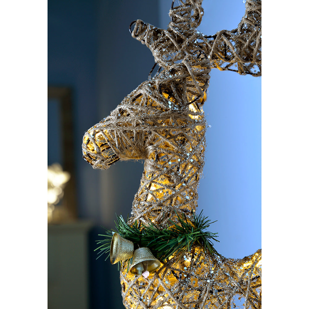 Pre-Lit Sisal Warm White LED Reindeer with a Dusting of Glitter, 61 cm - Multi-Colour
