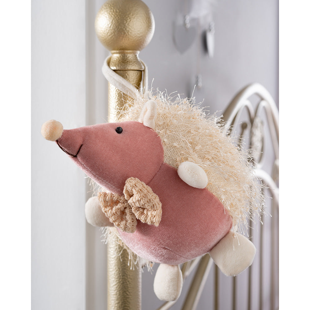 Christmas Hedgehog Figurine, Blush and Cream, 22 cm
