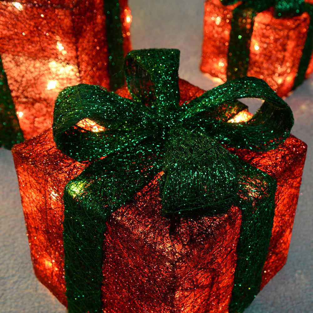 Gift Box Silhouette with 50 Warm White LED Lights and Tinsel - Red, Set of 3