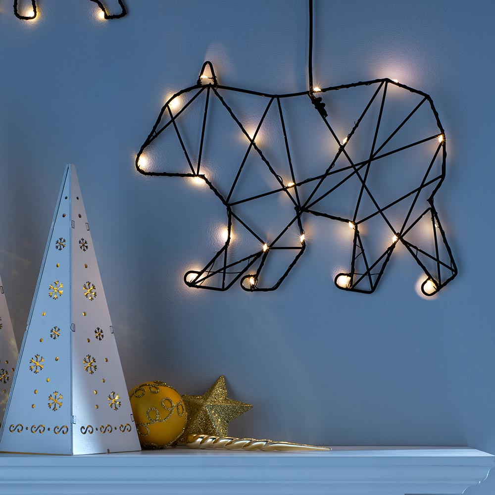 Pre-Lit Geometric Silhouette Christmas Decoration, Black