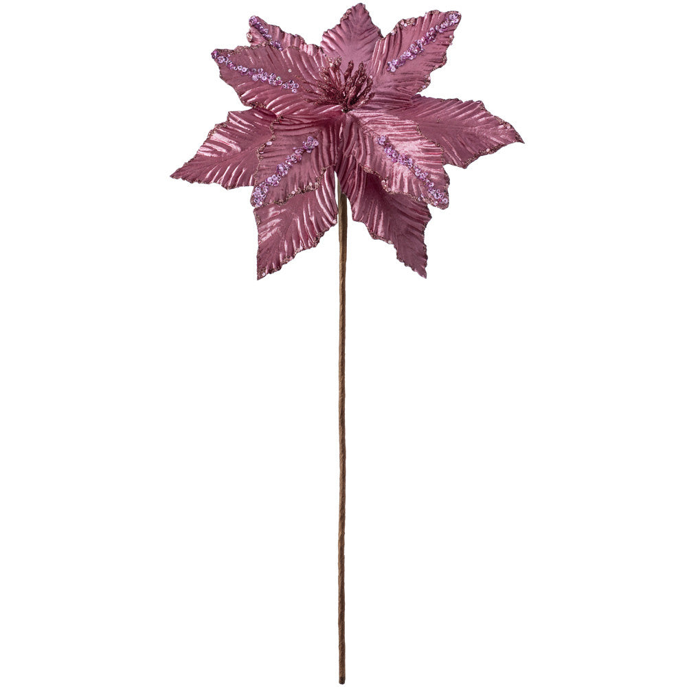 Artificial Poinsettia Christmas Tree Flower Decoration, Dark Pink, 28 cm