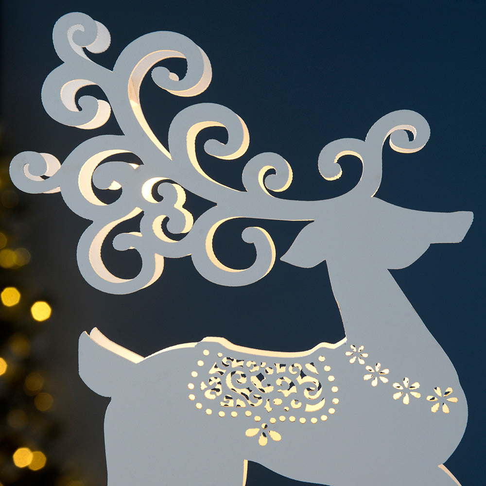 Pre-Lit Reindeer Table Christmas Decoration, Wood, White, 25 cm