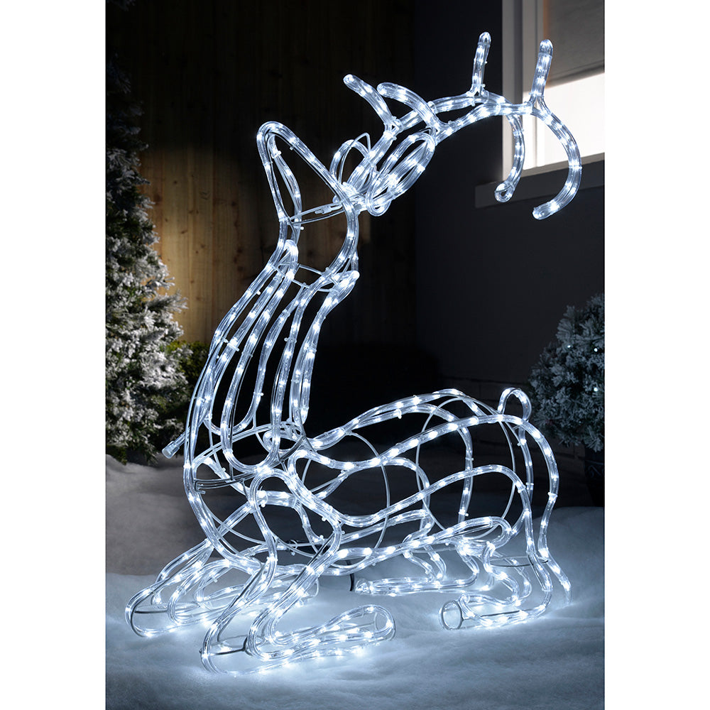 Pre-Lit 3D Sitting Reindeer Rope Light Silhouette, 93 cm - White