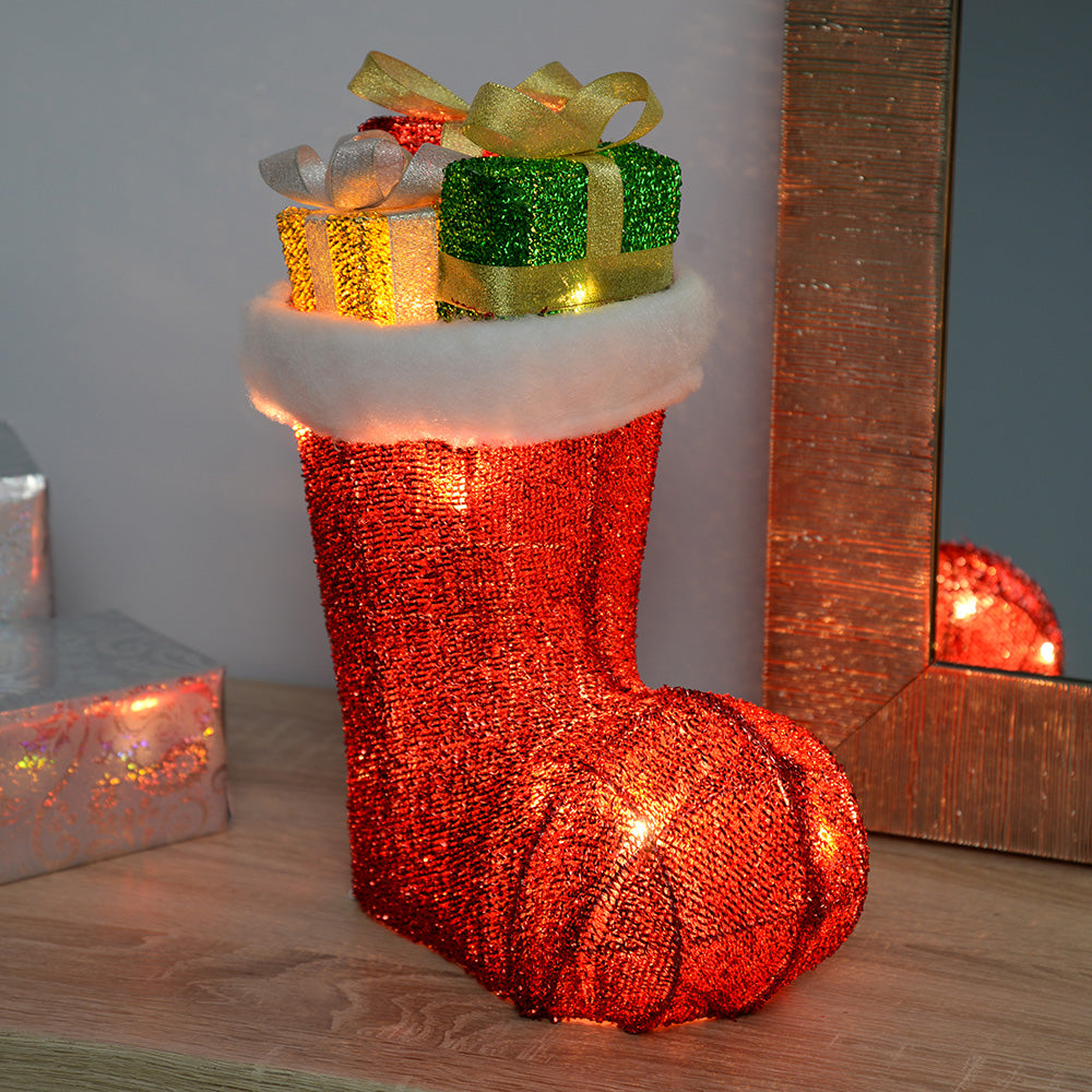 Stocking Boot Silhouette with Warm White LED Lights and Tinsel, 31 cm - Large