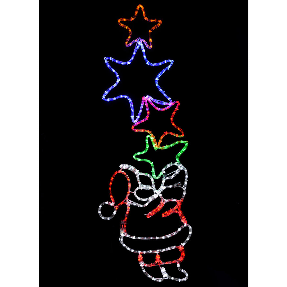 Santa Holding 4 Star Motif LED Rope Lights Silhouette Christmas Decoration, 127 cm - Large