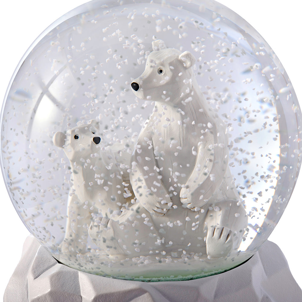 Polar Bear Snow Globe With Birch Base, Multi Colour, 11cm