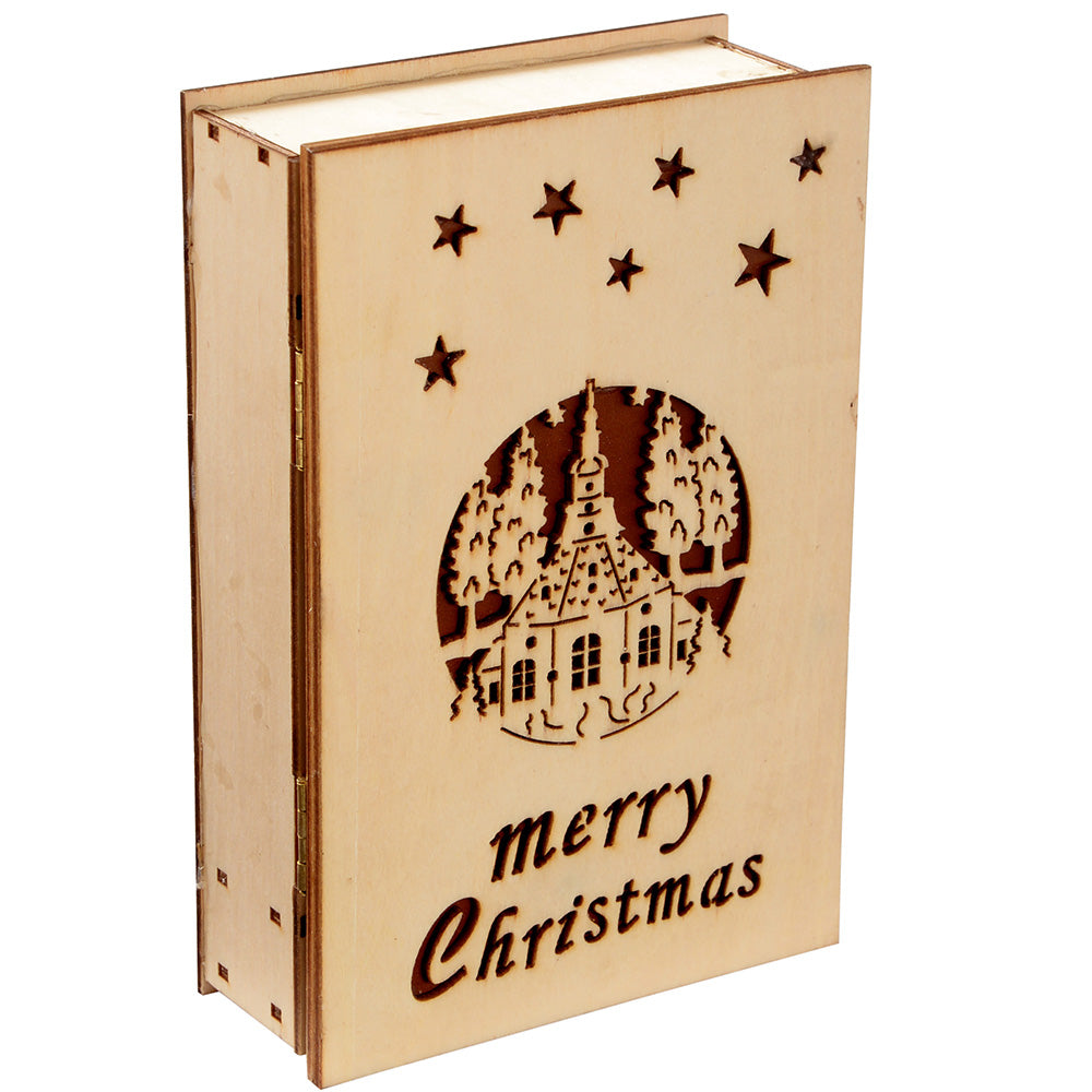 15 cm Pre-Lit Musical Wooden Opening Book with Warm White LED Lights