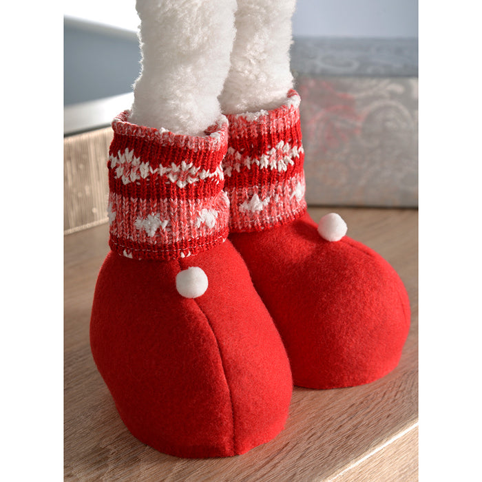Snowman with Extendable Legs Christmas Decorations, Red/White, 41-60 cm