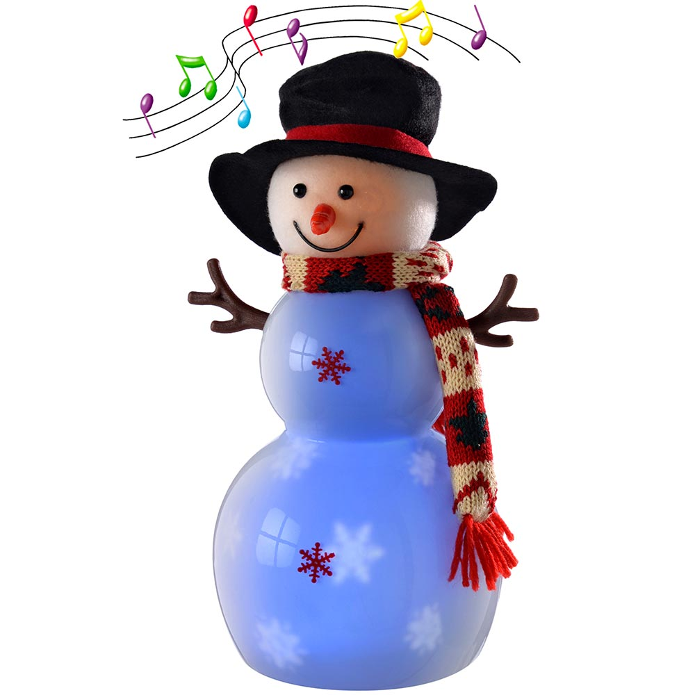 Pre-Lit Light Up and Music Snowing Snowman with Hat Scarf and LED Lights
