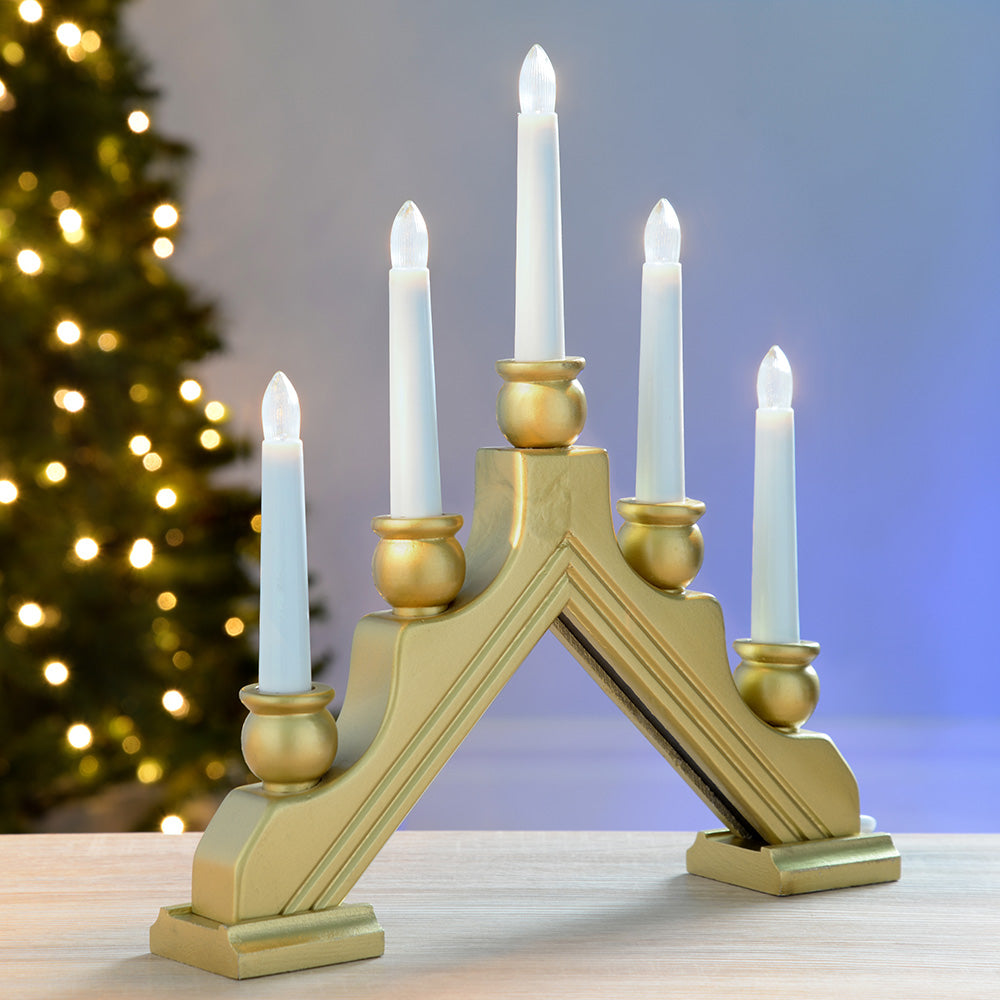 Pre-Lit Wooden Candle Bridge Window Table with 5 LED Candles, 30 cm - Gold