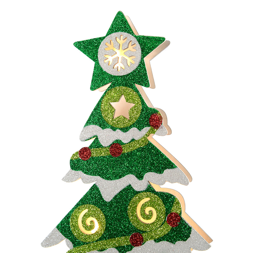 Pre-Lit Christmas Tree Decoration, 44 cm - Multi-Colour