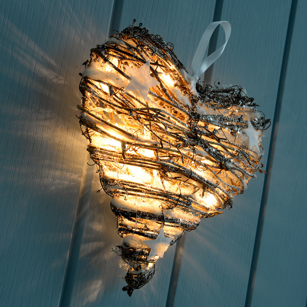 Rattan Pre-Lit Warm White LED Heart with Snow & Stars Christmas Decoration - 20cm