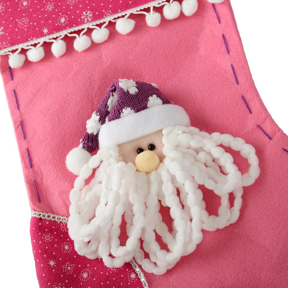 Christmas Stocking with 3D Head, 48 cm - Hot Pink/Purple