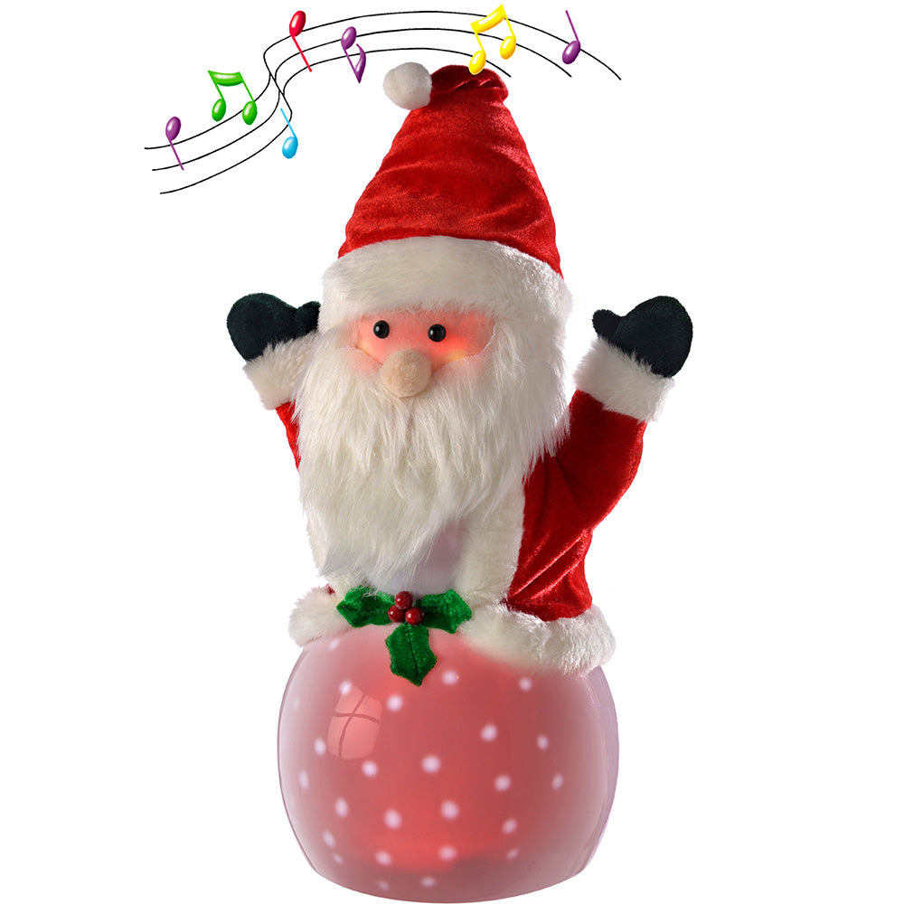 40 cm Pre-Lit Light Up and Music Snowing Santa and LED Lights Christmas Decoration