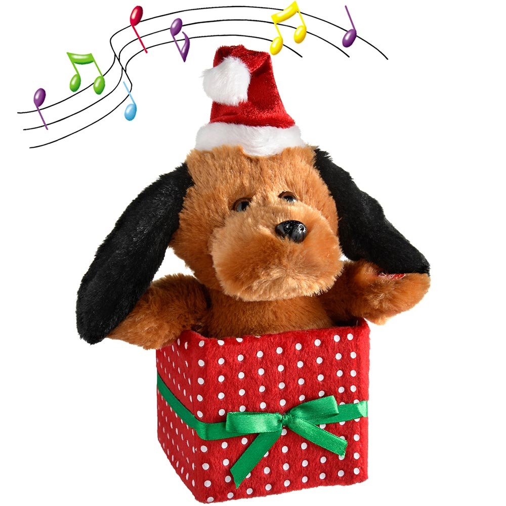 Musical Dancing Dog with Flapping Ears Christmas Decoration, 20 cm