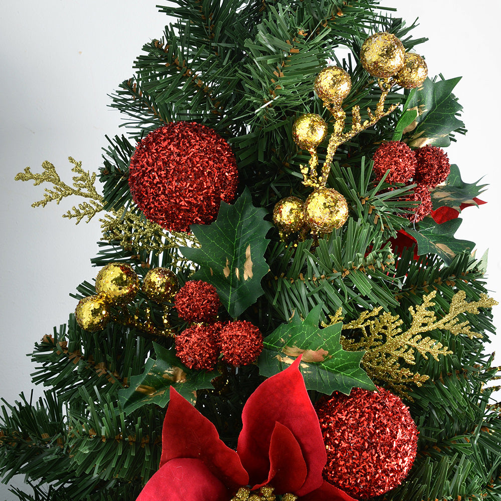 Burlap Base Decorated Christmas Tree - Red/Gold