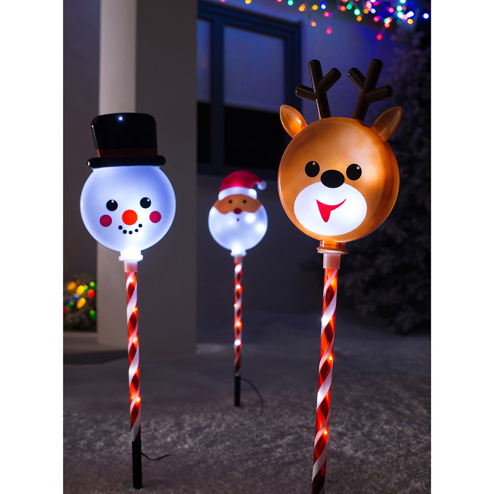 Reindeer Santa Snowman Pathway Christmas LED Lights, Set of 3