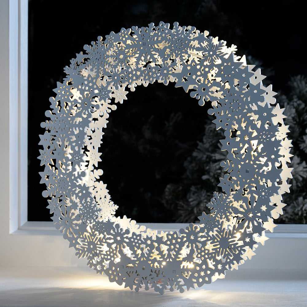 Pre-Lit Snowflake Wreath Table Christmas Decoration, Wood, 32 cm - White