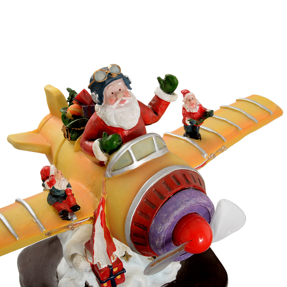 30 cm Gold Christmas Santa Aeroplane Decoration with Colourful LED Lights