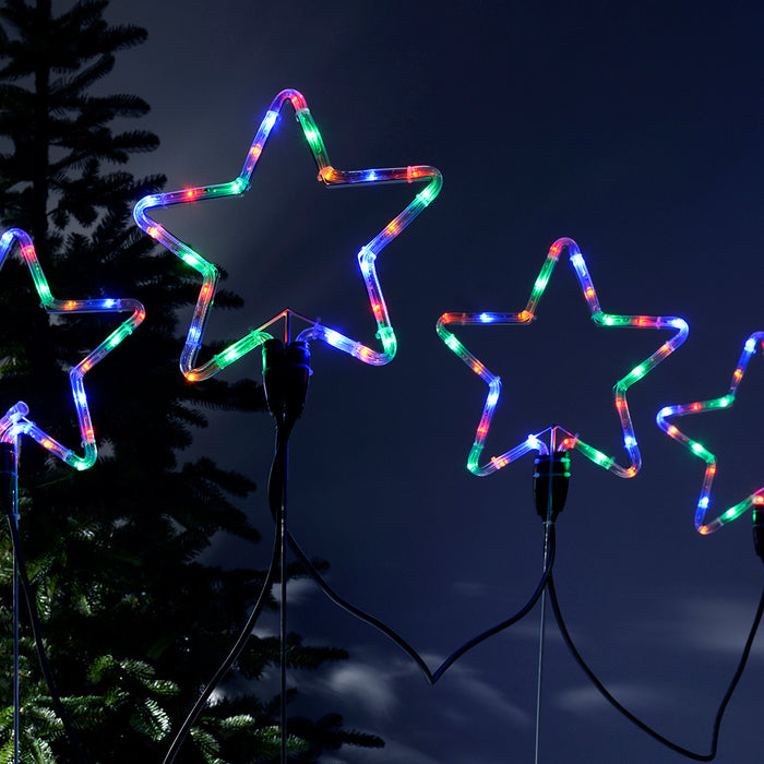 Pre-Lit LED Flashing Multi-Coloured Star Rope Light Silhouettes, 120 cm - Large, Set of 4