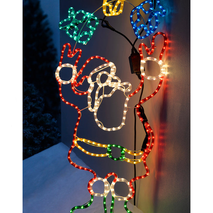Animated Father Christmas Santa Claus and Presents Rope Light Silhouette, 114 cm - Large